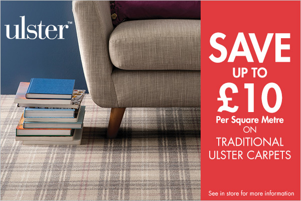 Save up to £10 per square metre on slected Ulster carpets